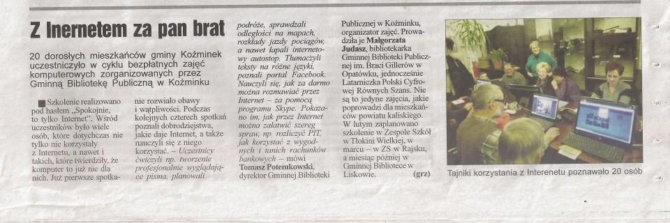 """(grz), Z internetem za pan brat, """"Życie Kalisza"""" nr 3 z 21.01.2015, s. 29."""