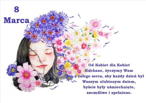 Rysukowa głowa kobiety okolona kwiatami. 8 Marca i życzenia