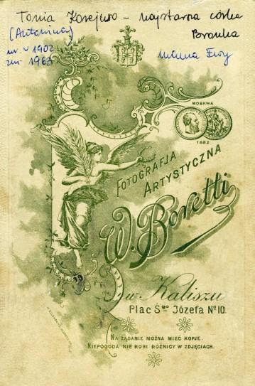 Odwrotna strona fotografii Toni Korejwówny z 1913 r.