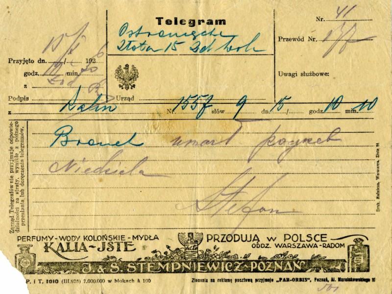 Telegram od Stefana Kasińskiego zawiadamiający śmierci Bronisława Korejwo
