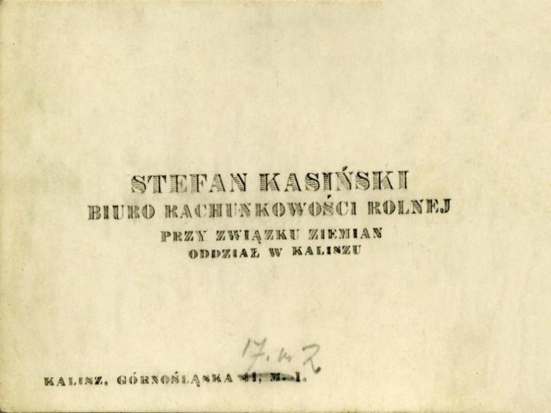Bilecik wizytowy Stefana Kasińskiego