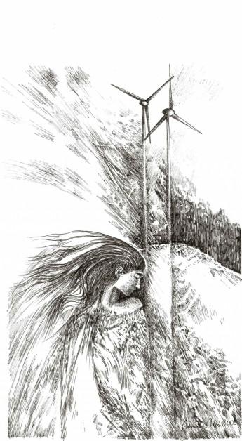 Wiatraki w Wysocku Wielkim, rysunek tuszem 297 x 210 mm, 2011