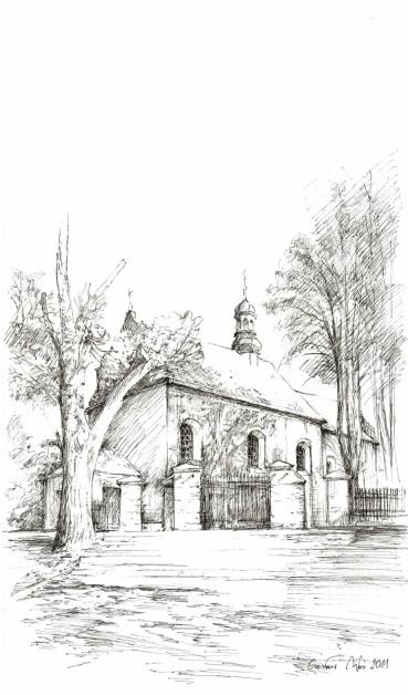 Kościół w  Wysocku Wielkim, rysunek tuszem 297 x 210 mm, 2011