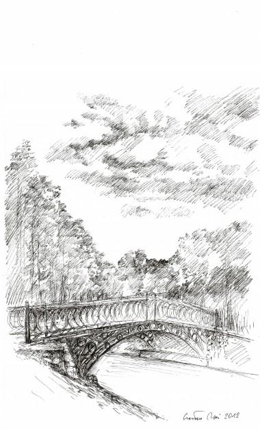 Park w Opatówku, rysunek tuszem 297 x 210 mm, 2012