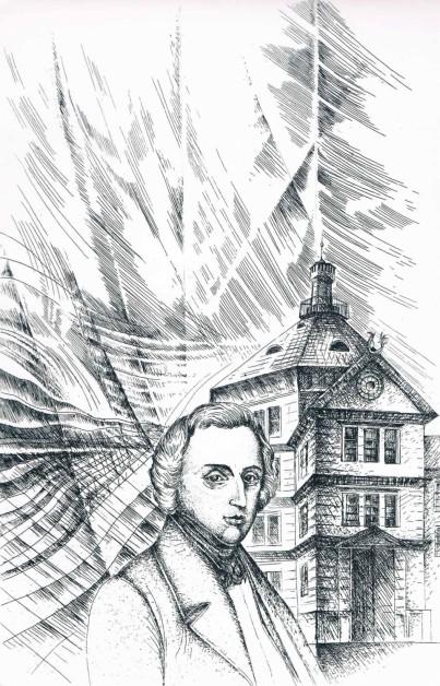 Chopin w Antoninie, akwaforta, 293 x 200 mm, 2010