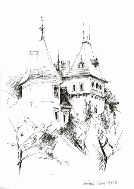Zamek w Gołuchowie, rysunek tuszem, 292 x 210 mm, 1997