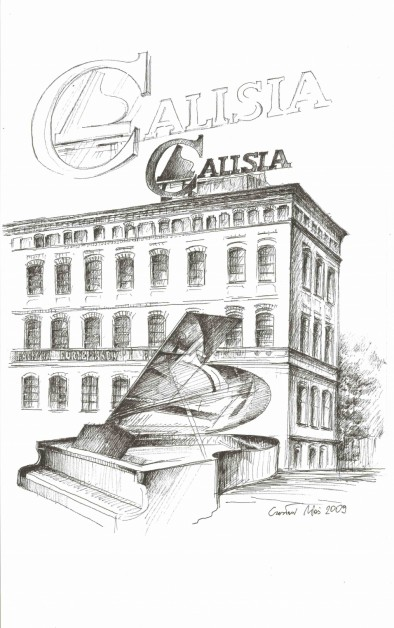 Fabryka Fortepianów w Kaliszu, rysunek tuszem, 297 x 210 mm, 2009