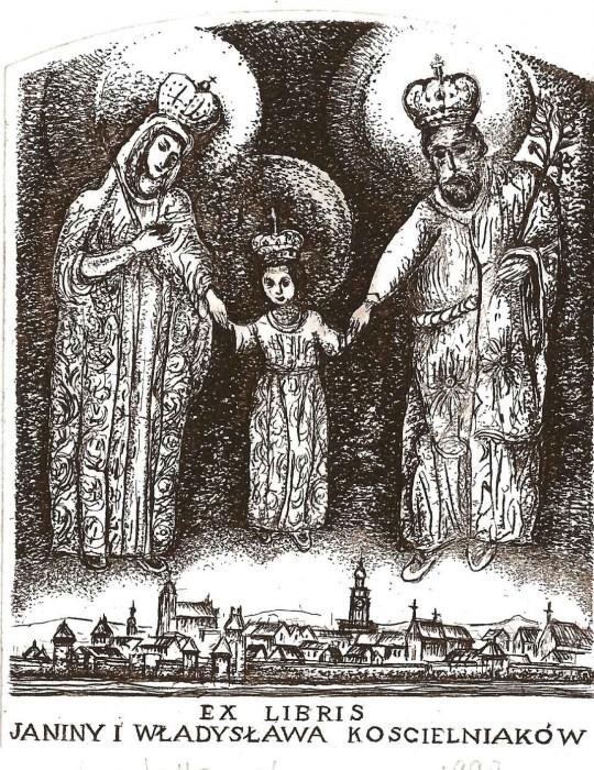 Ekslibris Janiny i Władysawa Kościelniaków, akwaforta 97 x 77 mm, 1998